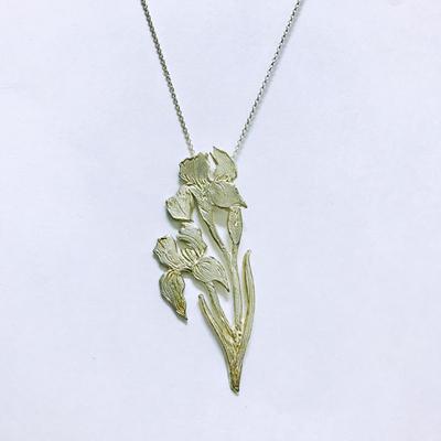 Garden of Silver Iris Necklace   Iris and Daylily Jewelry