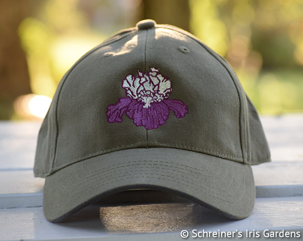 Olive Cotton Cap with Embroidered Iris | Iris Themed Gifts
