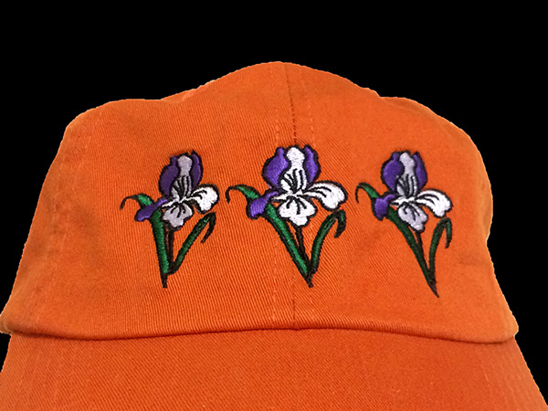 Orange Cotton Cap with Embroidered Iris | Iris Themed Gifts