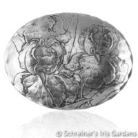 Image Oval Aluminum Bowl with Iris Design