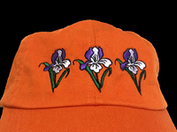 Image Orange Cotton Cap with Embroidered Iris