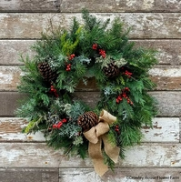 Image Classic Country Holiday Wreath 22 inch