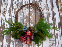 Image NW Grapevine and Evergreen Wreath Plaid Ribbon