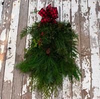 Image Holiday Evergreen Swag Red Check Ribbon