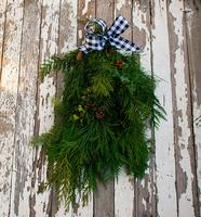 Image Holiday Evergreen Swag Black Check Ribbon