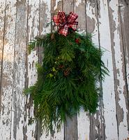 Image Holiday Evergreen Swag Plaid Ribbon