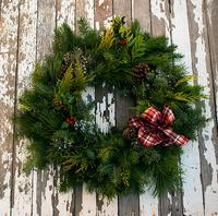 Image Holiday Cheer Evergreen Wreath Plaid Ribbon