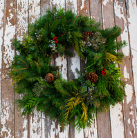 Image Holiday Cheer Evergreen Wreath No Ribbon