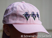 Image Pink Cotton Cap with Embroidered Iris